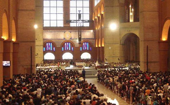 Santuário Nacional de Aparecida durante celebração da 4ª Peregrinação.